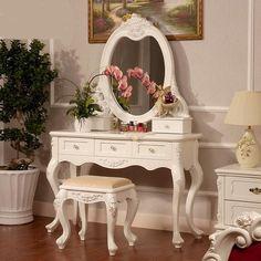 European-Style Carved Wood Vanity Set 2 Colors