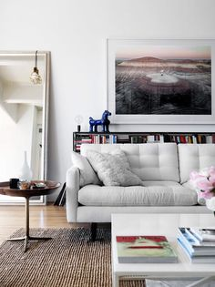 Gray tone living room with photography print.