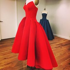 Red Satin High Low Simple Prom Dress Party Gown on Luulla
