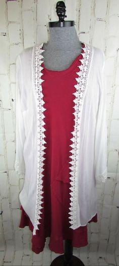 1295ff5240676 Kaari Blue Curvy womens 2X XXL Crinkle Rayon Long Cardigan Jacket White Lace   KaariBlue  . Plus Size ...