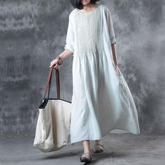 ca6ac6390ca BYUKUD women linen solid color loose spring summer dress plus size folded  pocket women elbow sleeves