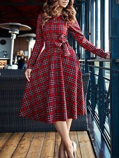General Red Work Dresses Sashes Red Round Neckline Spring Long Sleeve Midi Summer Wrap Cotton A-line Dress Fall S Winter M Plaid L XL Dress Tartan Dress, Red Midi Dress, Long Sleeve Midi Dress, The Dress, Dress Skirt, Dress Long, Sheath Dress, Robes Vintage, Vintage Style Dresses