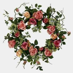 Rose Wreath-The rose is often seen as the perfect flower. One look at the full, lush blooms, and you can see why. Well, we have taken those perfect blooms and created this exquisite 20 inch rose wreath that has to be seen to be believed. Silk Roses, Silk Flowers, Fake Flowers, Artificial Flowers, Fabric Flowers, Christmas Wreaths To Make, Christmas Diy, Holiday Wreaths, Holiday Crafts