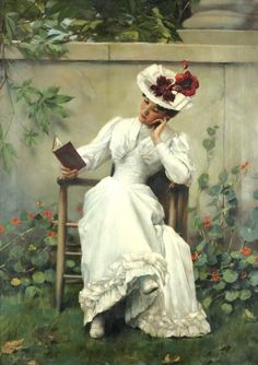 "Lady with a book in the garden (1892). Brunner František Dvořák (1862-1927). Oil on canvas.  ""A book is a garden, an orchard, a storehouse, a party, a counselor, a multitude of counselors."" ~ Henry Ward Beecher"