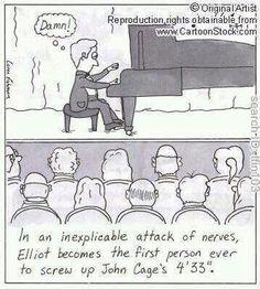 """""""Em um inexplicável ataque de nervos, Elliot se tornou a primeira pessoa a estragar 4'33'',de John Cage."""""""