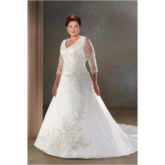 Exquisite Embroidered 3/4 Sleeves Brocade Wedding Dress