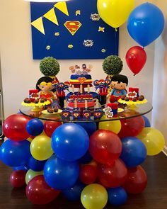 """Sometimes the only place you can put balloons is under neath the table. So I made it happen. I don't even know what to call this other than """"A Balloon Master Piece Under the Table"""" I hope little Nick has an amazing birthday party celebration tomorrow! Superman Birthday Party, Baby Boy 1st Birthday, Avengers Birthday, First Birthday Parties, Birthday Party Decorations, Batman Party, Superhero Party, Table Decorations, Wonder Woman Birthday"""
