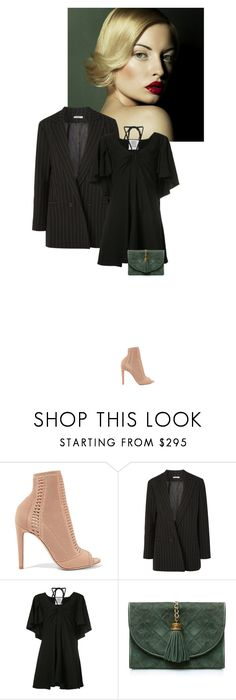 """""""Oversized blazer"""" by perlarara ❤ liked on Polyvore featuring Gianvito Rossi, Ganni, Rosie Assoulin and Chanel"""