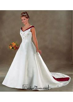 Beautiful Elegant Exquisite Off-the-shoulder Satin Wedding Dress In Great Handwork