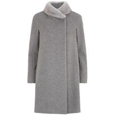 MaxMara Ricetta Fur Collar Coat (€1.280) ❤ liked on Polyvore featuring outerwear, coats, maxmara coat, fur collar coat and maxmara