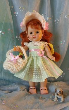 Doll clothes, dotted swiss dress purse hat to  fit Ginny Muffie 8 inch  dolls
