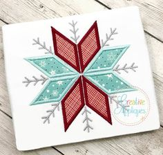 Comes in 4 sizes, uses 2 fabric pieces, and includes step by step color chart. Snowflake Embroidery, Applique Embroidery Designs, Machine Embroidery Applique, Free Machine Embroidery Designs, Embroidery Files, Quilting Designs, Snowflakes, Sewing Projects, Sewing Ideas