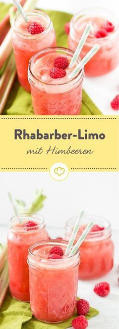 Rhubarb lemonade with Rhabarber-Limonade mit Himbeeren A must for all rhubarb lovers: pour plenty of rhubarb, fresh raspberries, a little lemon and honey with water and start the summer refreshed. Smoothie Drinks, Healthy Smoothies, Healthy Drinks, Smoothie Mixer, Raspberry Rhubarb, Raspberry Lemonade, Rhubarb Rhubarb, Sparkling Lemonade, Recetas Puertorriqueñas