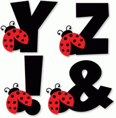 Silhouette Design Store: Ladybug Alphabet - Y Z ! Baby Ladybug, Ladybug Party, Alphabet Templates, Alphabet Crafts, Scrapbook Letters, Class Decoration, Alphabet And Numbers, Silhouette Design, Miraculous Ladybug