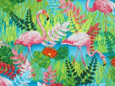 Flamingo Tropical Flamingos Bird Cotton Fabric FQ or by scizzors, $2.99