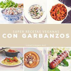 Recetas 100% vegetales con garbanzos - desde ensaladas hasta salchichas y albóndigas ;) CreatiVegan.net