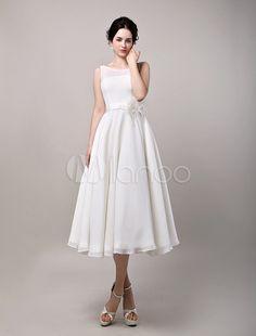 Robe de mariée A-ligne chiffon ivoire col bateau longueur mollet