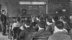 1935 class listening to lecture via a shortwave radio transceiver