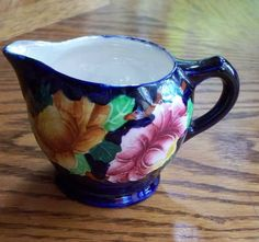 VINTAGE MALING NEWCASTLE-ON-TYNE HAND PAINTED CREAMER~COBALT w/ FLORAL