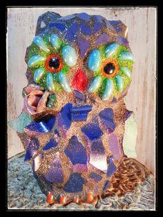 Mosaic Owl garden yard ornament art by Whimsicalrobyn on Etsy