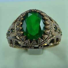 Bronze Men's Ring Antique Style Gothic Design Size Persian Emerald Green Cubic Zirconia Gothic, Bronze, Antique Rings, Emerald Green, Persian, Rings For Men, Artisan, Mens Fashion, Man Style