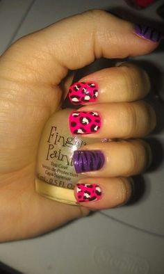 Pink Leopard Purple Tiger! LOVE THIS! (i think i need a new pin folder or whatever they are called just for nails!)