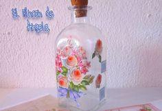 Como decorar con decoupage una botella de cristal