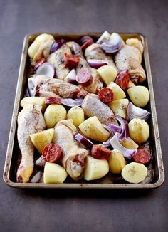 Chorizo chicken baked potatoes and red onions chefNini Cooking Time, Cooking Recipes, Healthy Recipes, Good Food, Yummy Food, Salty Foods, Snacks, Food Inspiration, Chicken Recipes
