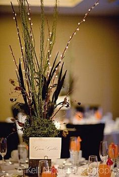 DIY Stick Based, Moss Covered, Feather and Crystal Centerpieces : wedding decor diy reception seattle tutorial 3023595
