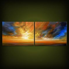 large art abstract cloud sunset original painting by mattsart, $275.00
