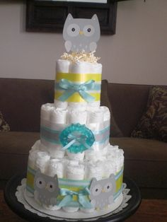 Owl Diaper Cake Woodland baby Shower three styles available  IT IS A HOOT other colors too by bearbottomdiapercakes on Etsy https://www.etsy.com/listing/94275164/owl-diaper-cake-woodland-baby-shower