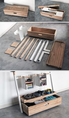 Arara Nômade by André Pedrini & Ricardo Freisleben - a trunk that turns into a series of shelves, slots, drawers and hangers.