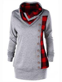 657ce7babd0 Plus Size Plaid Cowl Neck Tunic Sweatshirt