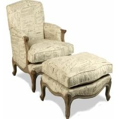 Parisian Script Arm Chair and Ottoman