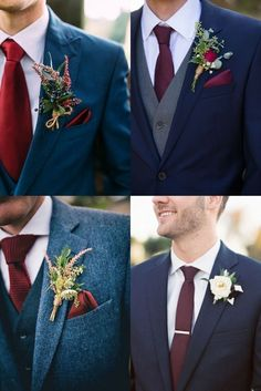 25 + Grooms Wedding Suit and Boutonniere Ideas trending navy and burgundy groom wedding suit ideas<br> Burgundy And Grey Wedding, Blue Suit Wedding, Navy And Burgundy Suit, Best Wedding Suits For Groom, Rustic Wedding Suit, Blue Groomsmen Suits, Groom And Groomsmen Attire, Navy Groom, Grey Suits