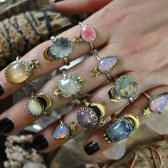 18 Super Ideas fails design purple and silver パープルネイルのアイデア Hippie Jewelry, Cute Jewelry, Jewelry Rings, Jewelry Accessories, Bohemian Style Jewelry, Jewelry Ads, Witch Jewelry, Cartier Jewelry, Bohemian Rings