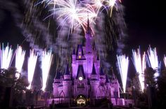 Purple & Blue castle with surrounding fireworks