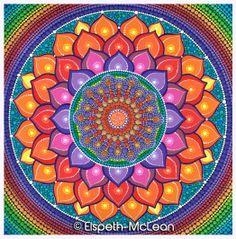 Lotus Rainbow Mandala by Elspeth McLean  #lotus #rainbow #mandala #elspethmclean