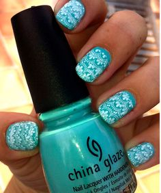 teal with white lace stamping