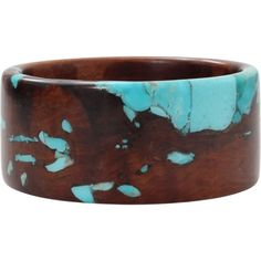 Katherine Jetter Reclaimed Pear Wood And Turquoise Bangle ($4,000) ❤ liked on Polyvore featuring jewelry and bracelets