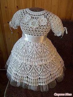Delicadezas en crochet Gabriela: Vestido de niña ideal para bautismo ó fiesta con patrones