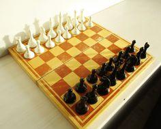Wood Chess Set Vintage Chess Soviet Chess Plastic by MerilinsRetro