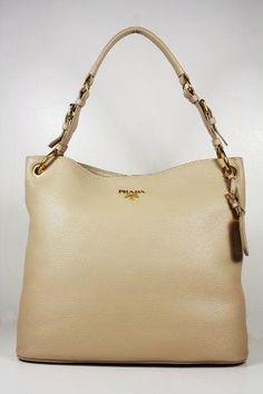 Prada Handbags Large Light Tan Leather BR4892 Shoulder Bags Price : $1,550.00