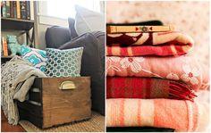 Baús para as almofadas e mantas ficam um charme