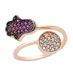 Hamsa & Circle ring in rose gold with pink and white CZ crystals. Shop at www.amorium.com