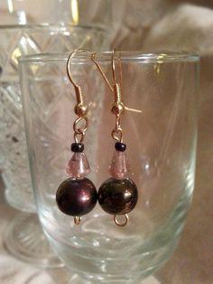 Handmade purple Czech glass beaded earrings by NamasJewels on Etsy, $12.50