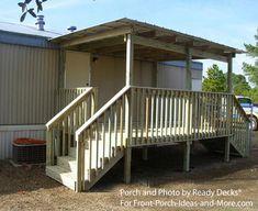 Mobile Home Steps, Mobile Home Deck, Mobile Home Living, Remodeling Mobile Homes, Home Remodeling, Porch Kits, Porch Ideas, Roof Ideas, Patio Ideas