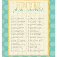 Summer Photo Checklist | Free sweet Printables