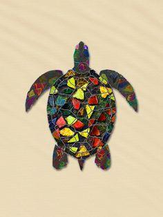 Animal Mosaic - The Turtle Art Print by Klara Acel | Society6