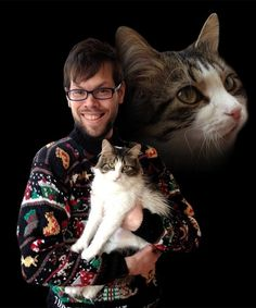 Future cat, past cat, future past cat. | 31 Absurd Pictures Of Men With Their Pets